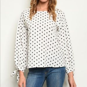 Polka dot white and black blouse